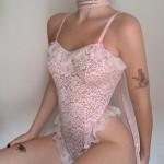 Фото Боди из мягкого кружева розовый 328-14