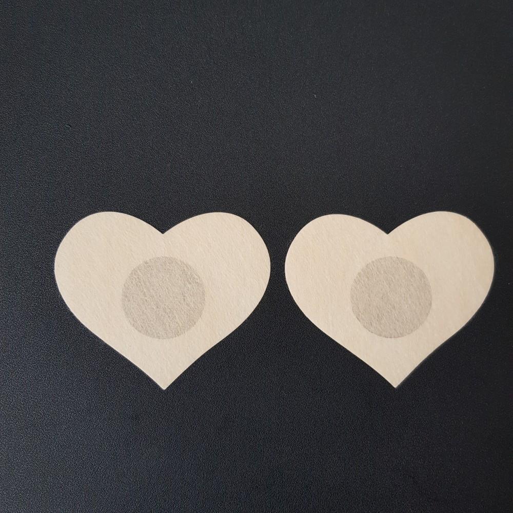 Фото Наклейки на грудь одноразовые сердце бежевые 419-08-2