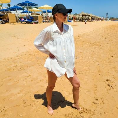 Рубашка пляжная белая коттон с декором 146-71