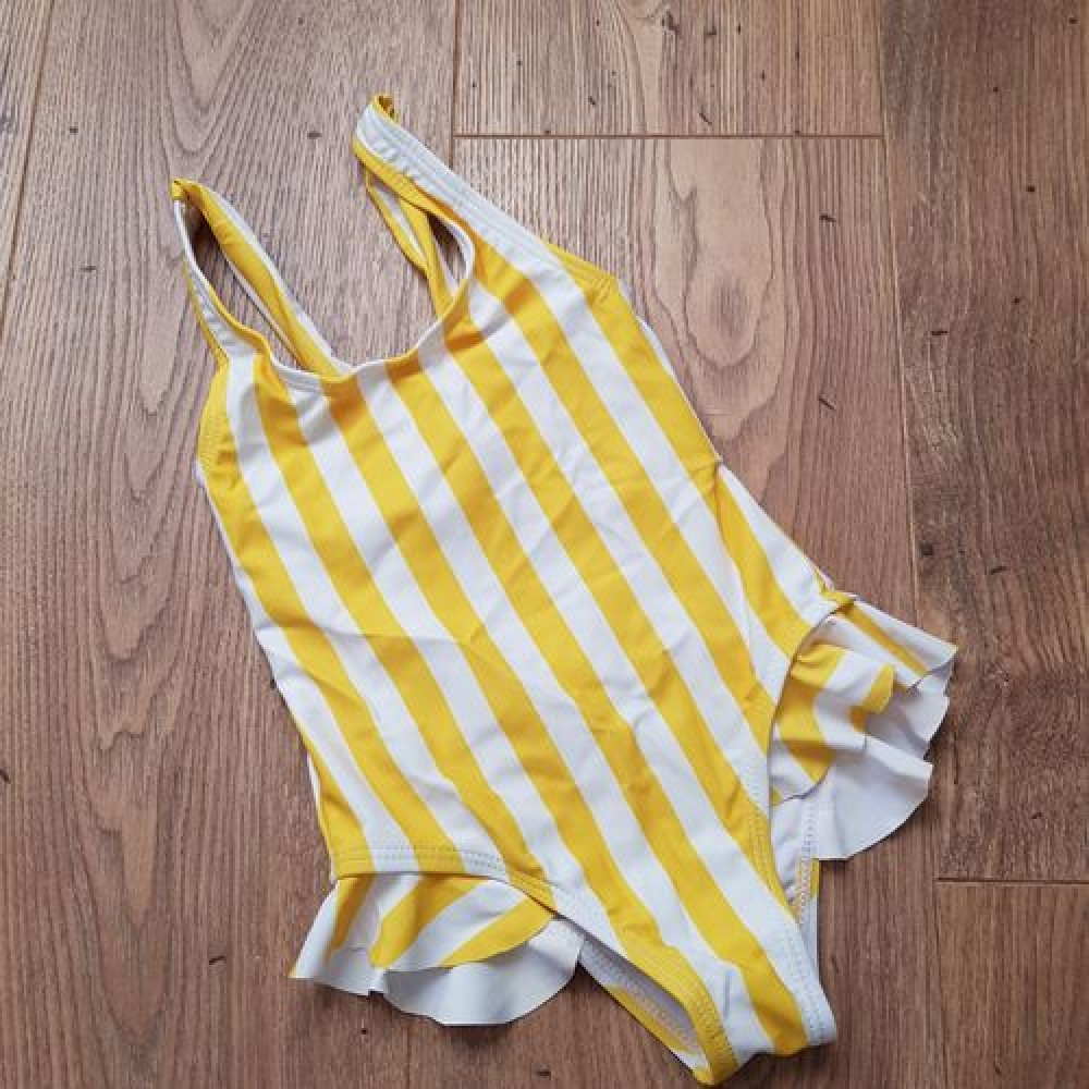 Фото Купальник детский слитный полосатый жёлто-белый 138-32-05