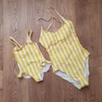 Фото Купальник женский слитный полосатый жёлто-белый  138-32-06