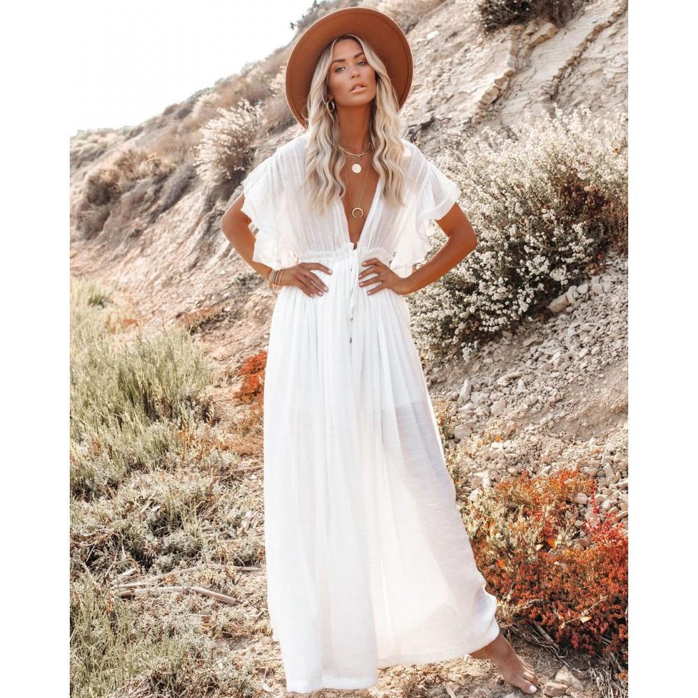 Фото Пляжное длинное белое платье  405-51-2