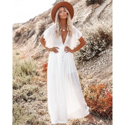 Пляжное длинное белое платье  405-51-2