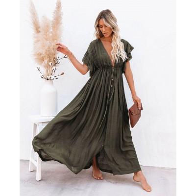 Пляжное  длинное платье хаки 405-51-3