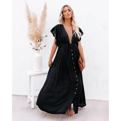 Пляжное длинное платье чёрное 405-51-4