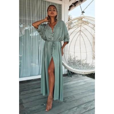 Платье-рубашка на длинный рукав с тонким пояском мятная 405-44-1