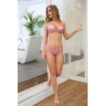 Фото Купальник раздельный, бикини, мягкая чашка с вкладышем, бразилиана, пайетки, кольца, розовый  131-011