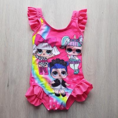 Купальник слитный детский розовый с рюшками LOL  602-17