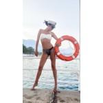 Фото Купальник бандо белый лиф черные плавки с люрексом 149-20-1