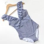 Фото Cлитный полосатый сине-белый купальник 136-28
