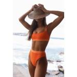Фото Купальник бикини оранжевый с высокими плавками 135-92