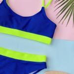 Фото Купальник флуоресцентный синий в рубчик 135-93-2