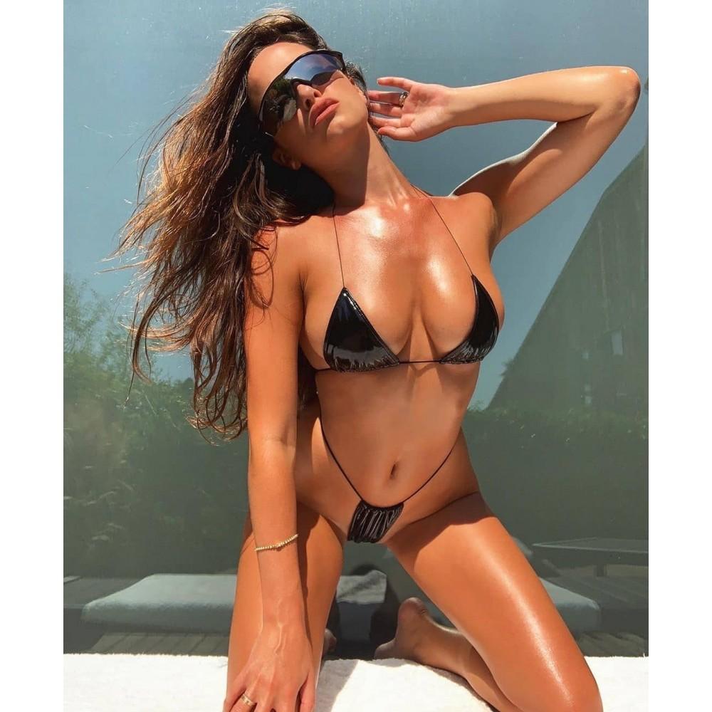 Фото Купальник бикини чёрний лак 135-90-1