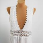 Фото Длинное белое платье с гипюром  406-05
