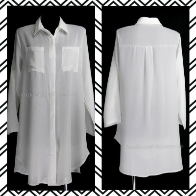Пляжная туника-рубашка белая 146-51-2