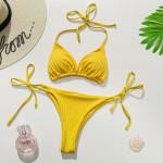 Фото Купальник бикини жёлтий в рубчик 193-01