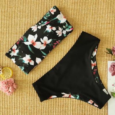 Купальник раздельный  чёрный с цветами двусторонний 111-04