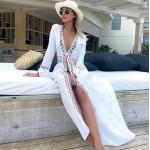 Фото Туника-накидка на купальник длинная белая на длинный рукав с завязками на талии146-80