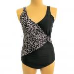 Фото Слитный женский купальник большие размеры леопардовые вставки купальник на большую грудь батал 174-02