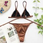 Фото Купальник мини-бикини коричневый блестящий плавки бразилиана 154-31