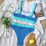 Фото Купальник бикини голубой с высокими плавками 135-92-1