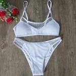 Фото Купальник раздельный белый с сеточкой с высокими плавками 115-01