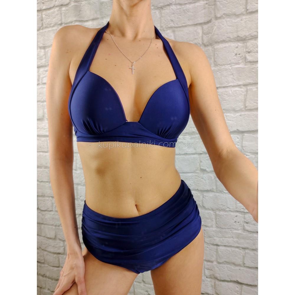 Фото Купальник бикини тёмно-синий с высокими плавками и драпировкой  130-35-1