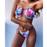 Фото Купальник раздельный бикини шторки на завязках фиолетово-синий на большой бюст 113-22