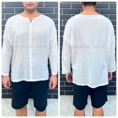 Рубашка пляжная мужская белая хлопок туника мужская на море лёгкая тонкая 420-01