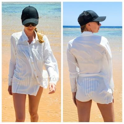 Рубашка пляжная белая лёгкая коттоновая  короткая с декором из гипюра 146-71