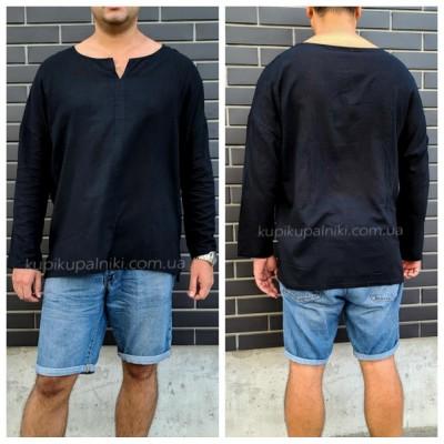 Рубашка пляжная мужская черная хлопок туника мужская на море лёгкая тонкая 420-02