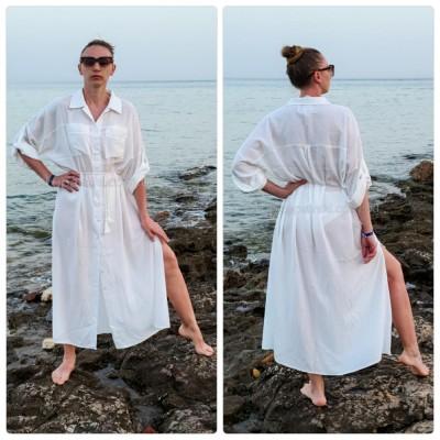 Біла пляжна сорочка довга котон з кишенями і поясом 146-54