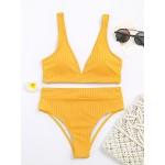 Фото Купальник бикини в рубчик жёлтый з высокими плавками 116-06-1