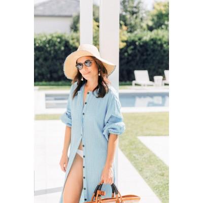 Платье -рубашка пляжное длинное голубое  из жатой ткани 146-88