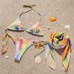 Фото Комплект купальник бикини жёлтый со стразами и парео 193-05