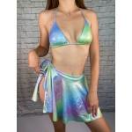 Фото Комплект блестящий купальник бикини  и юбка 192-09