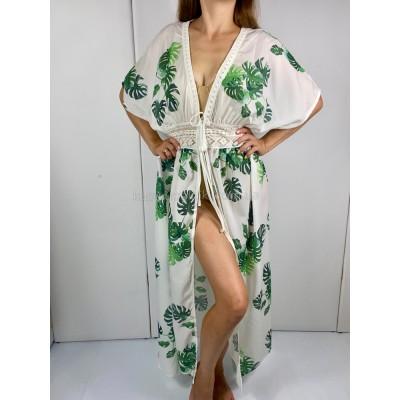 Пляжная накидка на купальник с листьями Туника белая пляжная с поясом тропический принт 405-50